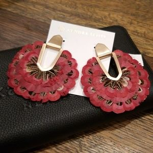 Kendra Scott Maroon Feather Diane Earrings